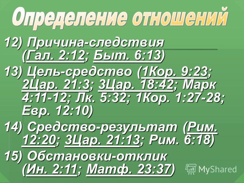 12) Причина-следствия (Гал. 2:12; Быт. 6:13) Гал. 2:12Быт. 6:13Гал. 2:12Быт. 6:13 13) Цель-средство (1Кор. 9:23; 2Цар. 21:3; 3Цар. 18:42; Марк 4:11-12; Лк. 5:32; 1Кор. 1:27-28; Евр. 12:10) 1Кор. 9:23 2Цар. 21:33Цар. 18:421Кор. 9:23 2Цар. 21:33Цар. 18