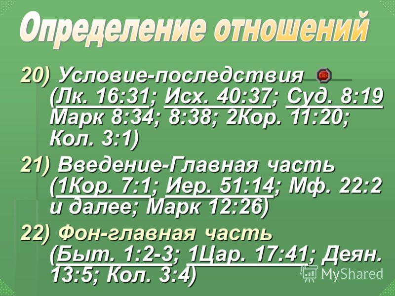 20) Условие-последствия (Лк. 16:31; Исх. 40:37; Суд. 8:19 Марк 8:34; 8:38; 2Кор. 11:20; Кол. 3:1) Лк. 16:31Исх. 40:37Суд. 8:19Лк. 16:31Исх. 40:37Суд. 8:19 21) Введение-Главная часть (1Кор. 7:1; Иер. 51:14; Мф. 22:2 и далее; Марк 12:26) 1Кор. 7:1Иер.
