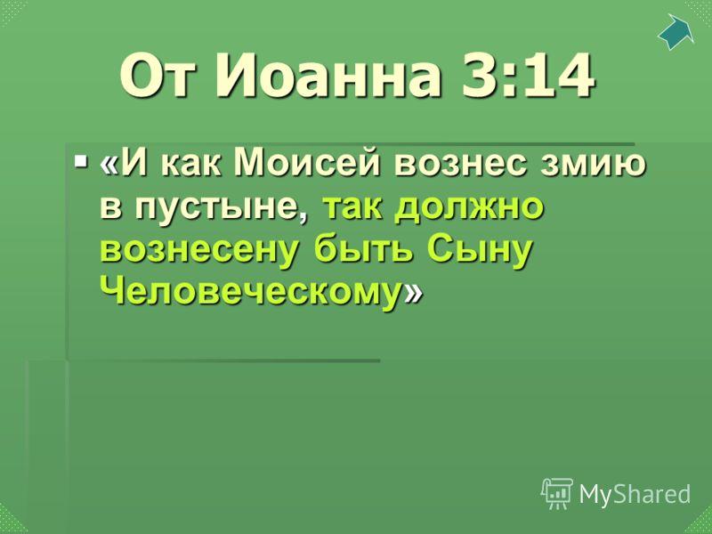 «И как Моисей вознес змию в пустыне, так должно вознесену быть Сыну Человеческому» «И как Моисей вознес змию в пустыне, так должно вознесену быть Сыну Человеческому» От Иоанна 3:14