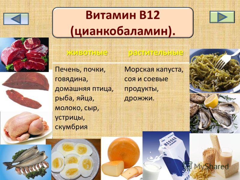 Витамин В12 (цианкобаламин). животныерастительные Печень, почки, говядина, домашняя птица, рыба, яйца, молоко, сыр, устрицы, скумбрия Морская капуста, соя и соевые продукты, дрожжи.