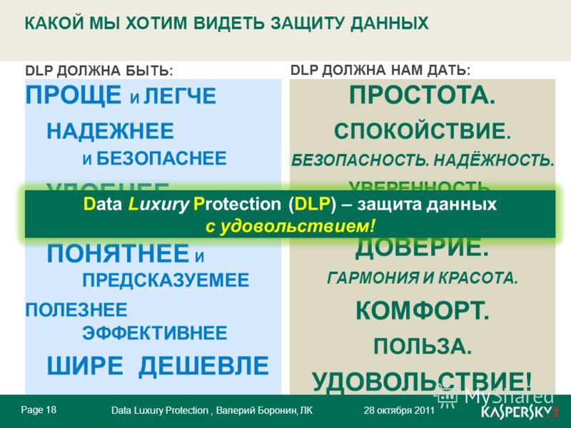 Data Luxury Protection, Валерий Боронин, ЛК 28 октября 2011 Click to edit Master title style Click to edit Master text styles Page 18 Data Luxury Protection, Валерий Боронин, ЛК 28 октября 2011 DLP ДОЛЖНА БЫТЬ: DLP ДОЛЖНА НАМ ДАТЬ: ПРОЩЕ И ЛЕГЧЕ НАДЕ