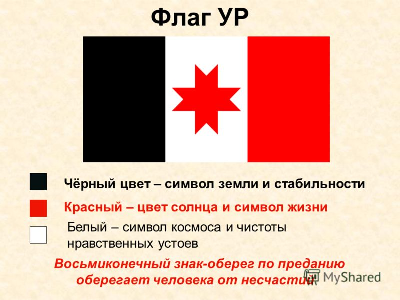 Флаг УР Чёрный цвет – символ земли и стабильности Красный – цвет солнца и символ жизни Белый – символ космоса и чистоты нравственных устоев Восьмиконечный знак-оберег по преданию оберегает человека от несчастий