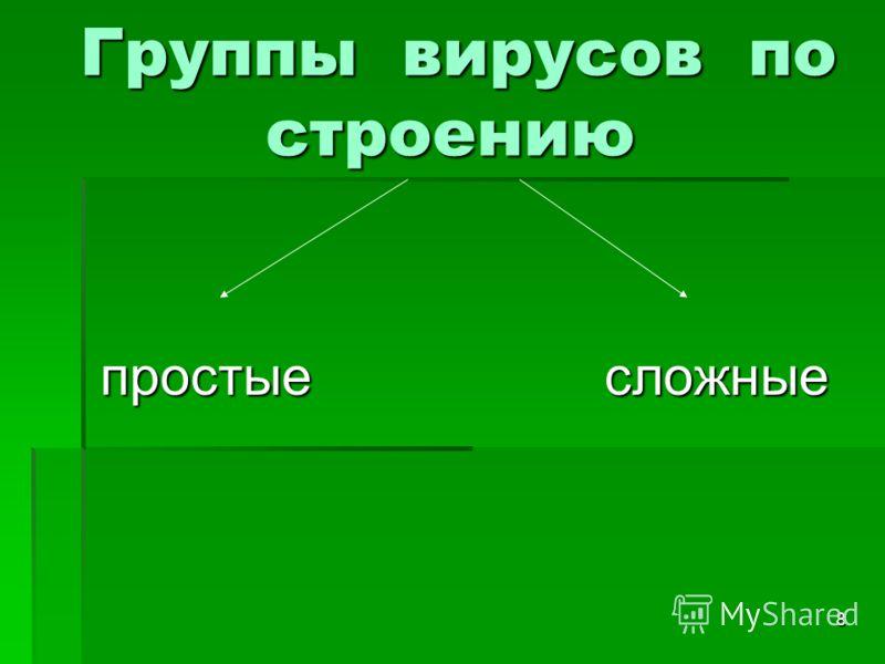 8 Группы вирусов по строению Группы вирусов по строению простые сложные простые сложные