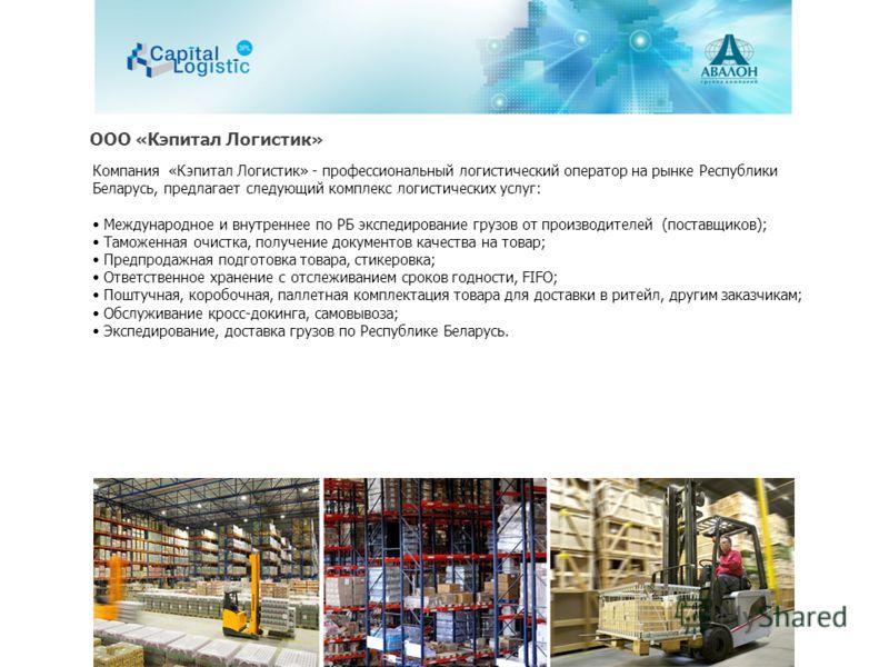 Компания «Кэпитал Логистик» - профессиональный логистический оператор на рынке Республики Беларусь, предлагает следующий комплекс логистических услуг: