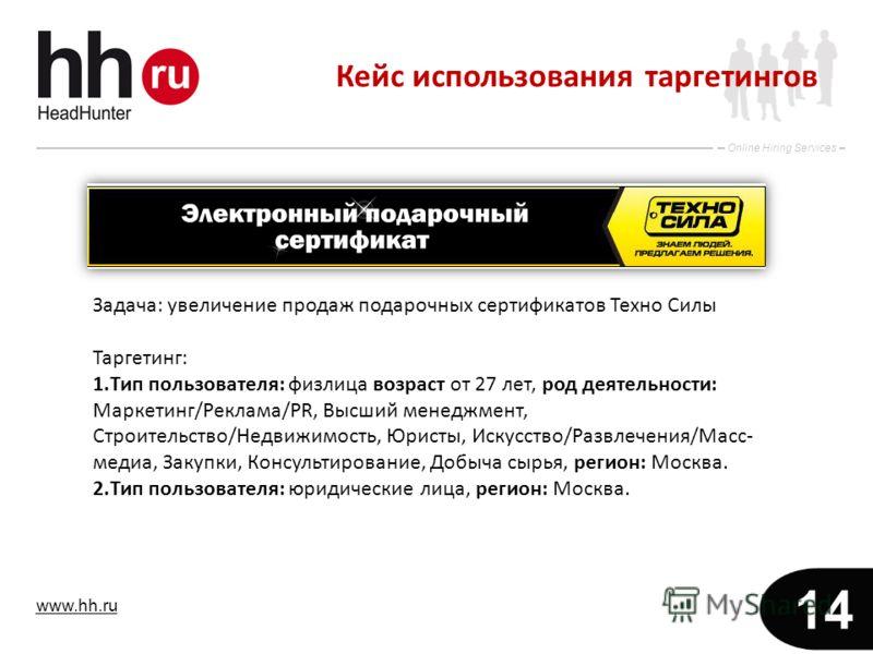 www.hh.ru Online Hiring Services 14 Задача: увеличение продаж подарочных сертификатов Техно Силы Таргетинг: 1.Тип пользователя: физлица возраст от 27 лет, род деятельности: Маркетинг/Реклама/PR, Высший менеджмент, Строительство/Недвижимость, Юристы,
