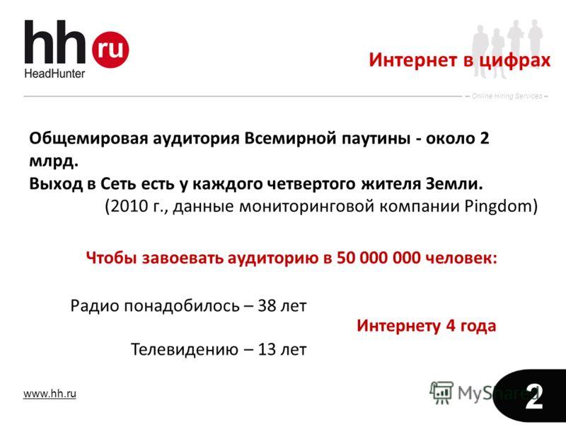 www.hh.ru Online Hiring Services 2 Интернет в цифрах Общемировая аудитория Всемирной паутины - около 2 млрд. Выход в Сеть есть у каждого четвертого жителя Земли. (2010 г., данные мониторинговой компании Pingdom) Чтобы завоевать аудиторию в 50 000 000