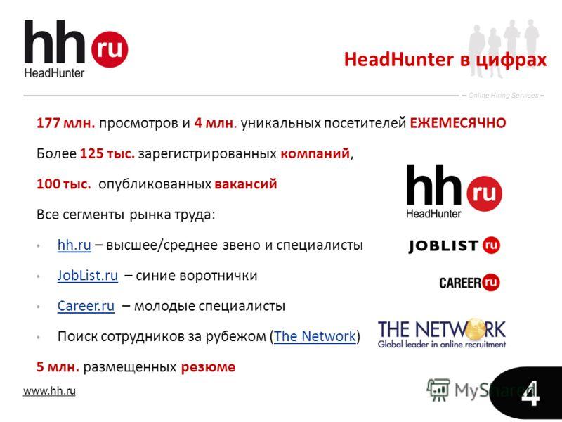 www.hh.ru Online Hiring Services 4 HeadHunter в цифрах 177 млн. просмотров и 4 млн. уникальных посетителей ЕЖЕМЕСЯЧНО Более 125 тыс. зарегистрированных компаний, 100 тыс. опубликованных вакансий Все сегменты рынка труда: hh.ru – высшее/среднее звено