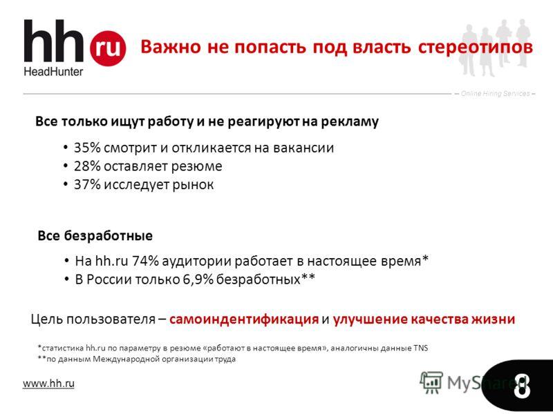 www.hh.ru Online Hiring Services 8 Все только ищут работу и не реагируют на рекламу Все безработные На hh.ru 74% аудитории работает в настоящее время* В России только 6,9% безработных** 35% смотрит и откликается на вакансии 28% оставляет резюме 37% и