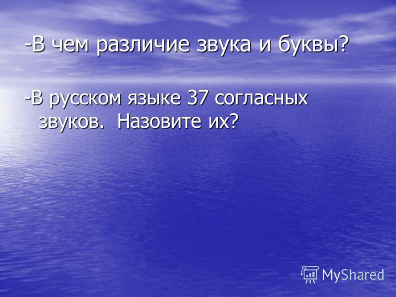 -В чем различие звука и буквы? -В русском языке 37 согласных звуков. Назовите их?