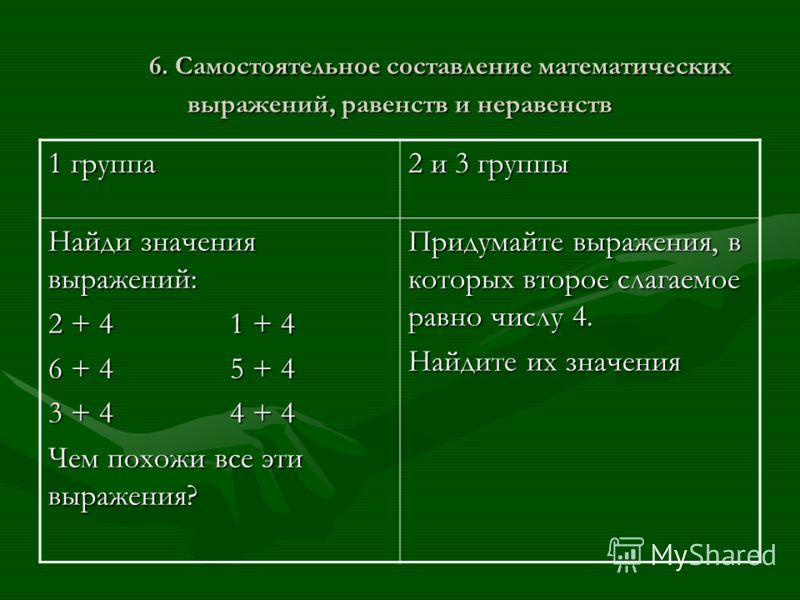 6. Самостоятельное составление математических выражений, равенств и неравенств 1 группа 2 и 3 группы Найди значения выражений: 2 + 4 1 + 4 6 + 4 5 + 4 3 + 4 4 + 4 Чем похожи все эти выражения? Придумайте выражения, в которых второе слагаемое равно чи