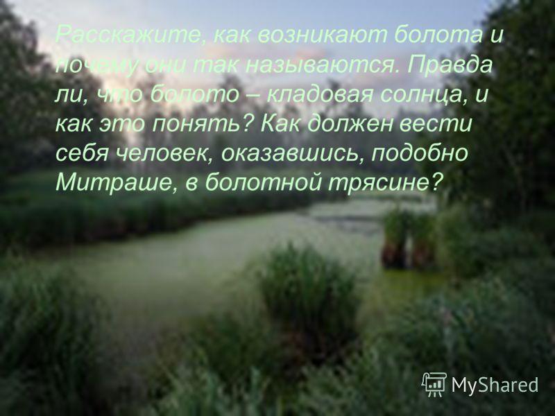 Расскажите, как возникают болота и почему они так называются. Правда ли, что болото – кладовая солнца, и как это понять? Как должен вести себя человек, оказавшись, подобно Митраше, в болотной трясине?