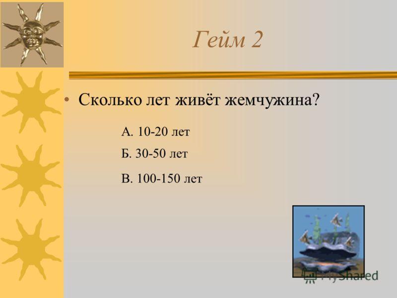 Гейм 2 Сколько лет живёт жемчужина? А. 10-20 лет Б. 30-50 лет В. 100-150 лет