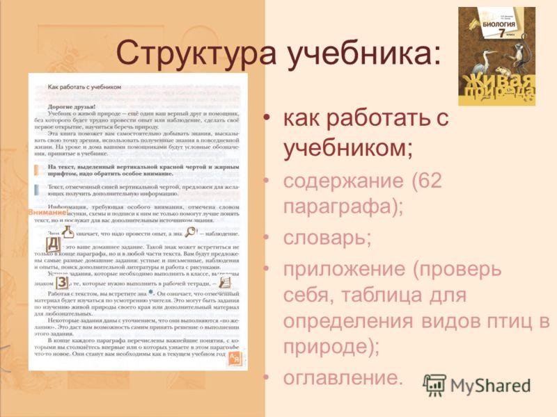 Структура учебника: как работать с учебником; содержание (62 параграфа); словарь; приложение (проверь себя, таблица для определения видов птиц в природе); оглавление.