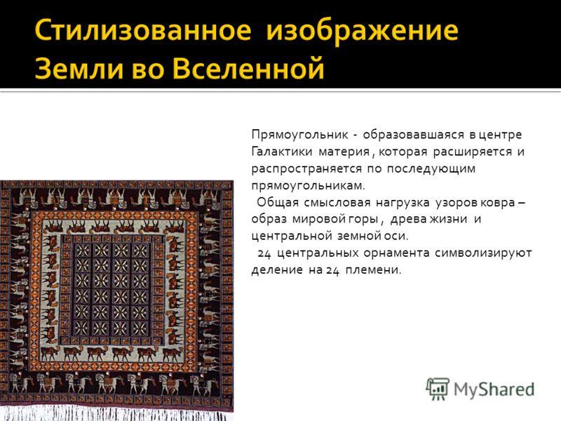 Центральное поле- орнамент из 24 крестообразных фигур, каждая из которых представлена схематизированным изображением бутонов лотоса (символом жизни). Эту композицию обрамляет бордюр с изображением орлиных грифонов, затем бордюр с 24 пасущимися ланями