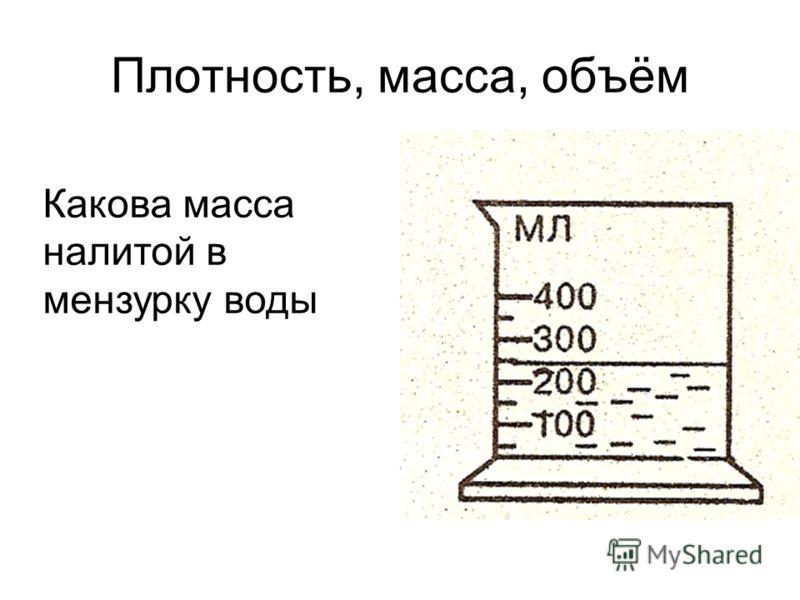 Плотность, масса, объём Какова масса налитой в мензурку воды