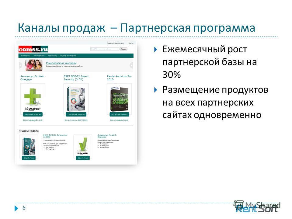 Каналы продаж – Партнерская программа 6 Ежемесячный рост партнерской базы на 30% Размещение продуктов на всех партнерских сайтах одновременно