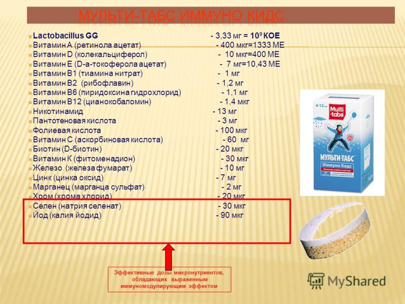 Lactobacillus GG - 3,33 мг = 10 9 КОЕ Витамин А (ретинола ацетат) - 400 мкг=1333 МЕ Витамин D (колекальциферол) - 10 мкг=400 МЕ Витамин Е (D-a-токоферола ацетат) - 7 мг=10,43 МЕ Витамин В1 (тиамина нитрат) - 1 мг Витамин В2 (рибофлавин) - 1,2 мг Вита