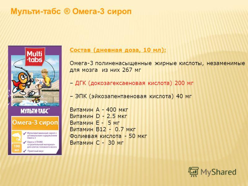 Состав (дневная доза, 10 мл): Омега-3 полиненасыщенные жирные кислоты, незаменимые для мозга из них 267 мг – ДГК (докозагексаеновая кислота) 200 мг – ЭПК (эйкозапентаеновая кислота) 40 мг Витамин А - 400 мкг Витамин D - 2.5 мкг Витамин Е - 5 мг Витам