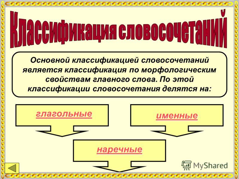 Основной классификацией словосочетаний является классификация по морфологическим свойствам главного слова. По этой классификации словосочетания делятся на: глагольные именные наречные