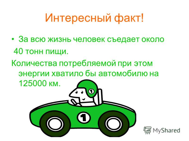 Интересный факт! За всю жизнь человек съедает около 40 тонн пищи. Количества потребляемой при этом энергии хватило бы автомобилю на 125000 км.