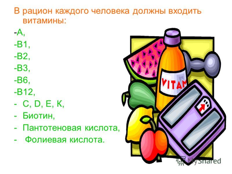 В рацион каждого человека должны входить витамины: -А, -В1, -В2, -В3, -В6, -В12, -С, D, Е, К, -Биотин, -Пантотеновая кислота, - Фолиевая кислота.
