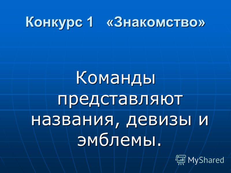 Конкурс1 «Знакомство» Конкурс 1 «Знакомство» Команды представляют названия, девизы и эмблемы.