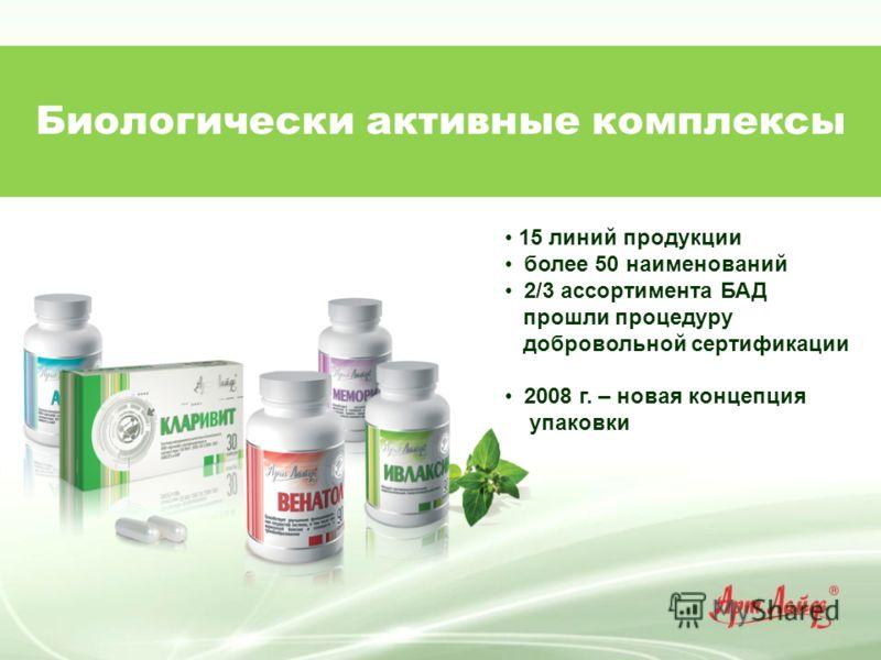 Биологически активные комплексы 15 линий продукции более 50 наименований 2/3 ассортимента БАД прошли процедуру добровольной сертификации 2008 г. – новая концепция упаковки