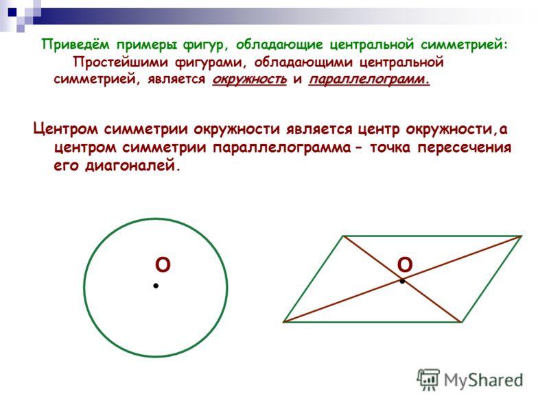 окружностьпараллелограмм. Приведём примеры фигур, обладающие центральной симметрией: Простейшими фигурами, обладающими центральной симметрией, является окружность и параллелограмм. Центром симметрии окружности является центр окружности,а центром симм