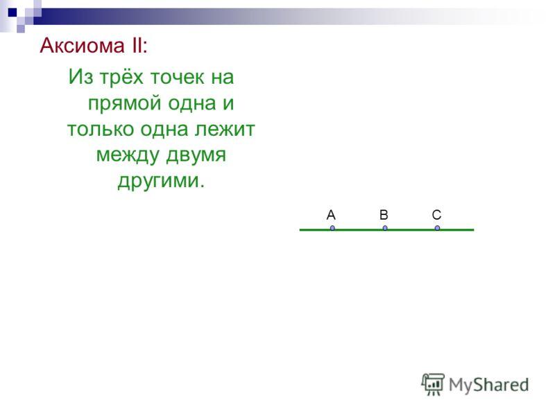 Аксиома II: Из трёх точек на прямой одна и только одна лежит между двумя другими. АВС