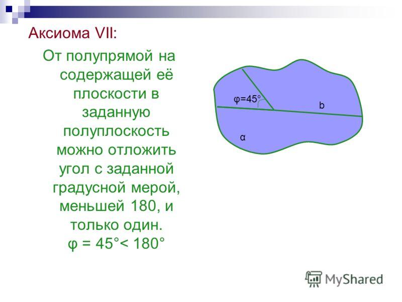 Аксиома VII: От полупрямой на содержащей её плоскости в заданную полуплоскость можно отложить угол с заданной градусной мерой, меньшей 180, и только один. φ = 45°< 180° α b φ=45°φ=45°