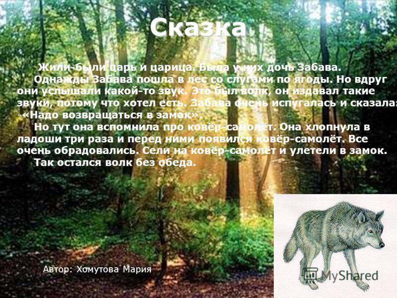 Сказка Жили-были царь и царица. Была у них дочь Забава. Однажды Забава пошла в лес со слугами по ягоды. Но вдруг они услышали какой-то звук. Это был волк, он издавал такие звуки, потому что хотел есть. Забава очень испугалась и сказала: -«Надо возвра
