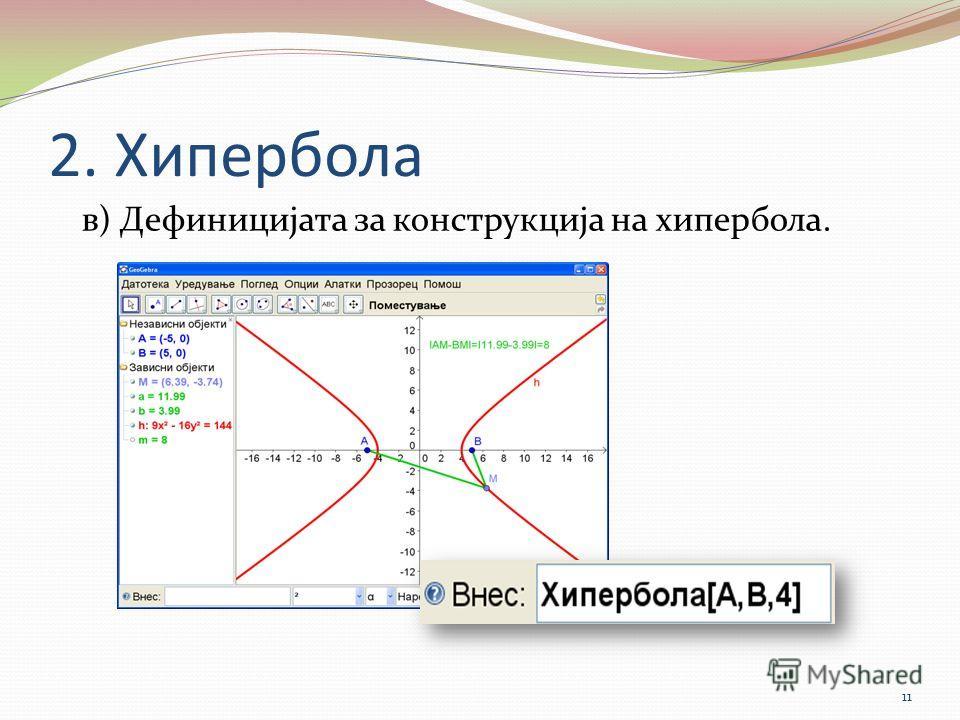 2. Хипербола в) Дефиницијата за конструкција на хипербола. 11
