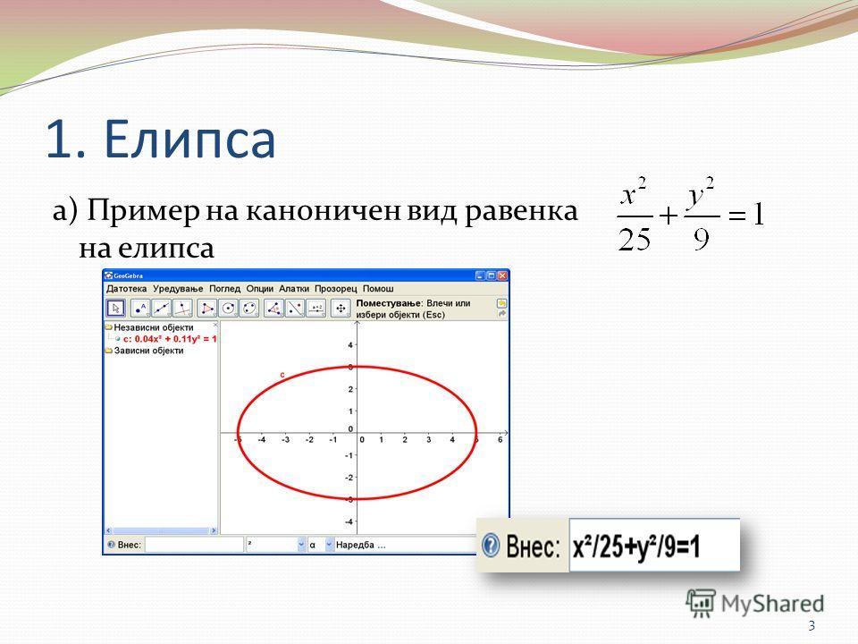 1. Елипса а) Пример на каноничен вид равенка на елипса 3