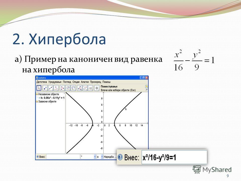 2. Хипербола а) Пример на каноничен вид равенка на хипербола 9