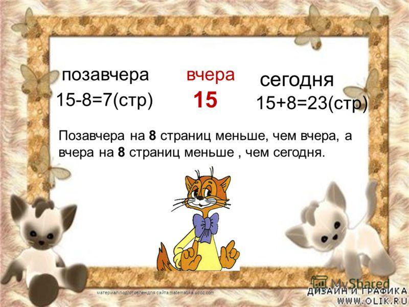 позавчеравчера сегодня 15 15-8=7(стр) 15+8=23(стр) Позавчера на 8 страниц меньше, чем вчера, а вчера на 8 страниц меньше, чем сегодня. материал подготовлен для сайта matematika.ucoz.com