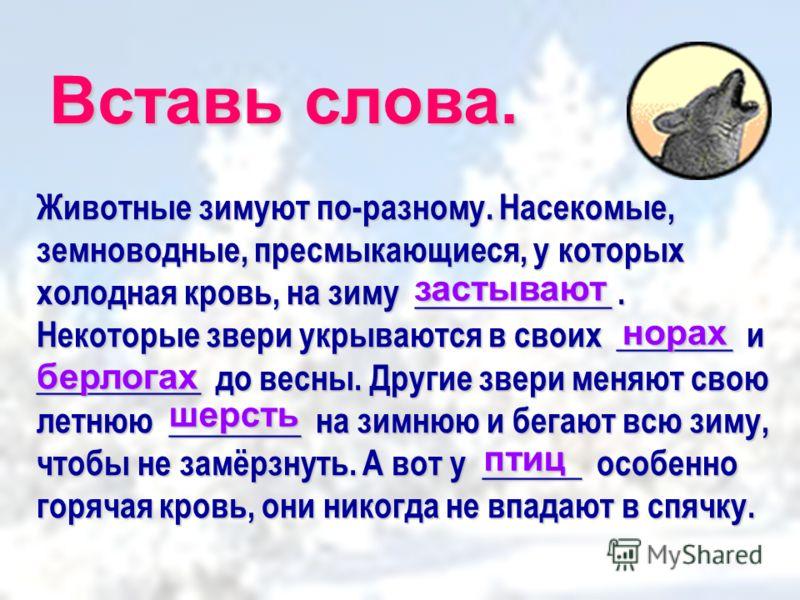 Вставь слова. Животные зимуют по-разному. Насекомые, земноводные, пресмыкающиеся, у которых холодная кровь, на зиму ____________. Некоторые звери укрываются в своих _______ и __________ до весны. Другие звери меняют свою летнюю ________ на зимнюю и б