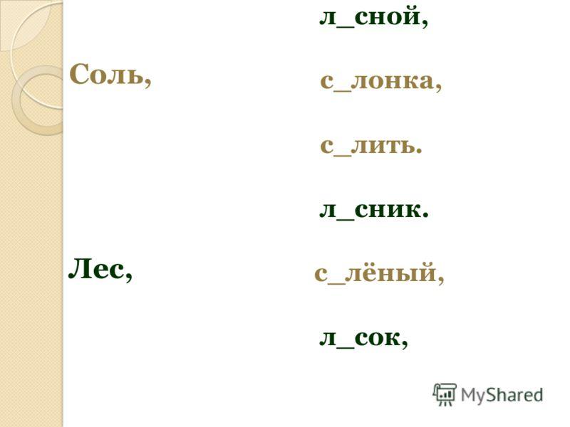 Соль, Лес, л_сной, с_лонка, с_лить. л_сник. с_лёный, л_сок,