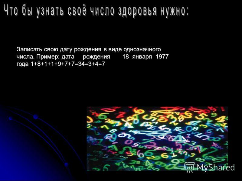 Записать свою дату рождения в виде однозначного числа. Пример: дата рождения 18 января 1977 года 1+8+1+1+9+7+7=34=3+4=7