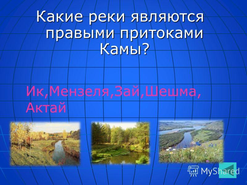Какие реки являются правыми притоками Камы? Ик,Мензеля,Зай,Шешма, Актай