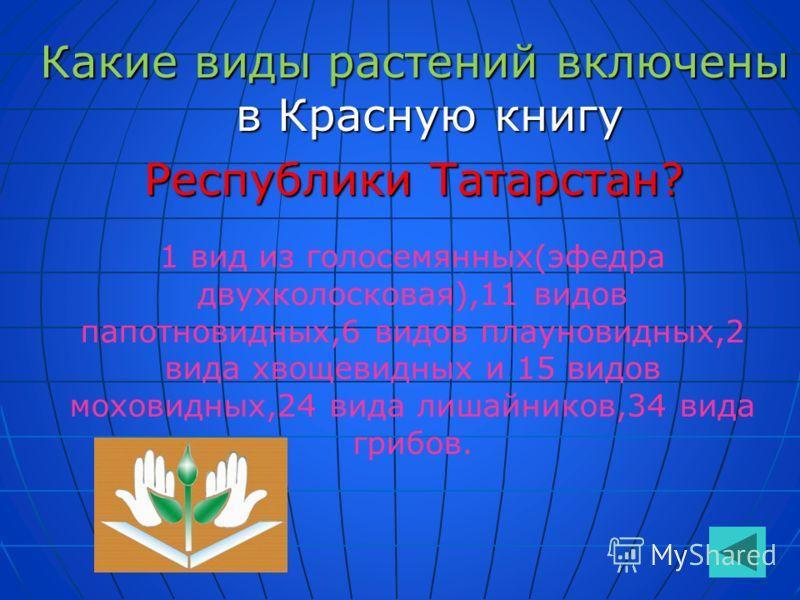 Какие виды растений включены в Красную книгу Республики Татарстан? 1 вид из голосемянных(эфедра двухколосковая),11 видов папотновидных,6 видов плауновидных,2 вида хвощевидных и 15 видов моховидных,24 вида лишайников,34 вида грибов.
