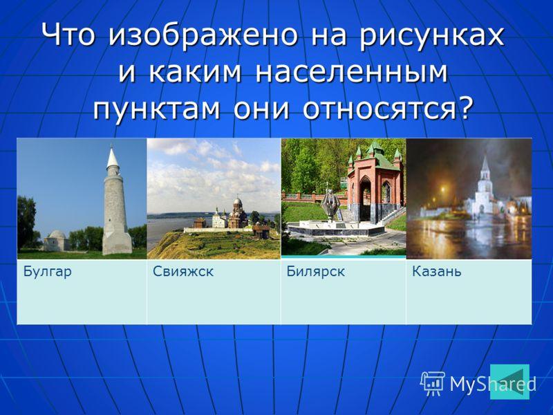 Что изображено на рисунках и каким населенным пунктам они относятся? БулгарСвияжскБилярскКазань