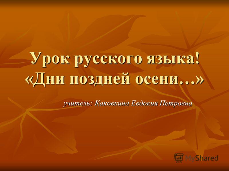 Урок русского языка! «Дни поздней осени…» учитель: Каковкина Евдокия Петровна