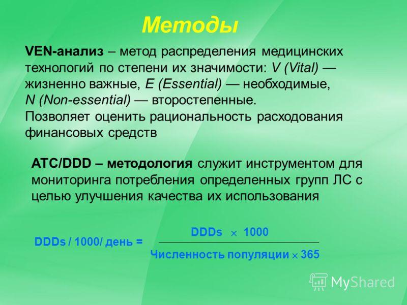 Методы АТС/DDD – методология служит инструментом для мониторинга потребления определенных групп ЛС с целью улучшения качества их использования VEN-анализ – метод распределения медицинских технологий по степени их значимости: V (Vital) жизненно важные