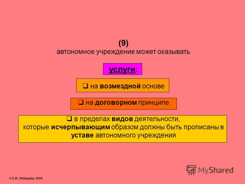(9) автономное учреждение может оказывать услуги: на возмездной основе на договорном принципе в пределах видов деятельности, которые исчерпывающим образом должны быть прописаны в уставе автономного учреждения © Е.И. Лебедева, 2008