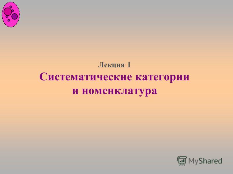 Лекция 1 Систематические категории и номенклатура