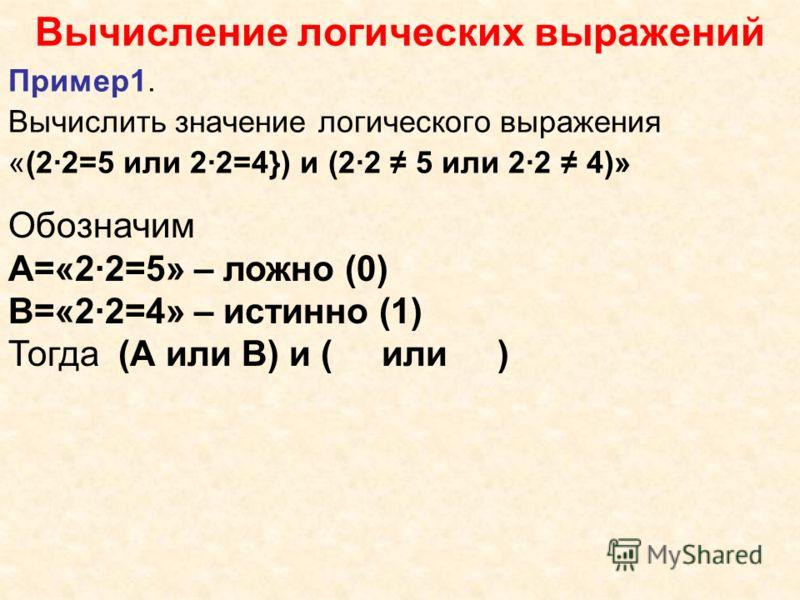 Вычисление логических выражений Пример1. Вычислить значение логического выражения «(2·2=5 или 2·2=4}) и (2·2 5 или 2·2 4)» Обозначим А=«2·2=5» – ложно (0) В=«2·2=4» – истинно (1) Тогда (А или В) и ( или )