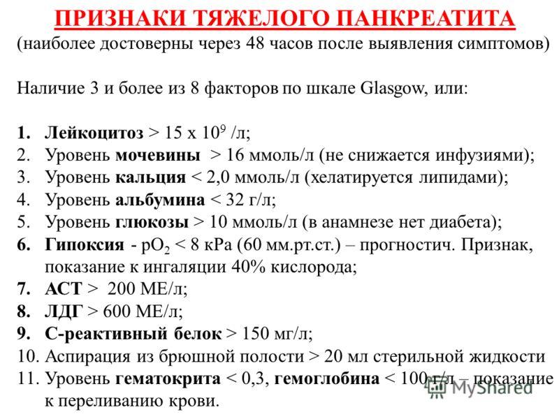 ПРИЗНАКИ ТЯЖЕЛОГО ПАНКРЕАТИТА (наиболее достоверны через 48 часов после выявления симптомов) Наличие 3 и более из 8 факторов по шкале Glasgow, или: 1.Лейкоцитоз > 15 х 10 9 /л; 2.Уровень мочевины > 16 ммоль/л (не снижается инфузиями); 3.Уровень кальц