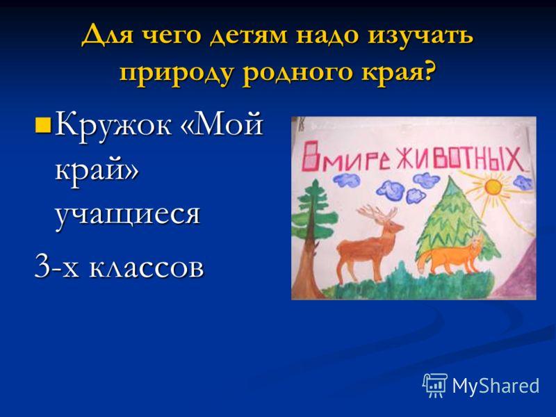 Для чего детям надо изучать природу родного края? Кружок «Мой край» учащиеся Кружок «Мой край» учащиеся 3-х классов