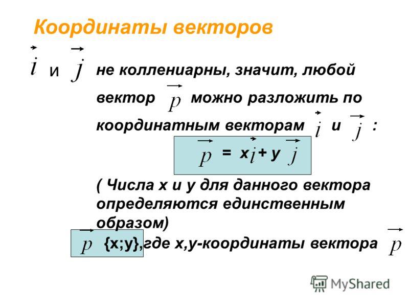 не коллениарны, значит, любой вектор можно разложить по координатным векторам и : = х + у ( Числа х и у для данного вектора определяются единственным образом) Координаты векторов {х;у},где х,у-координаты вектора и