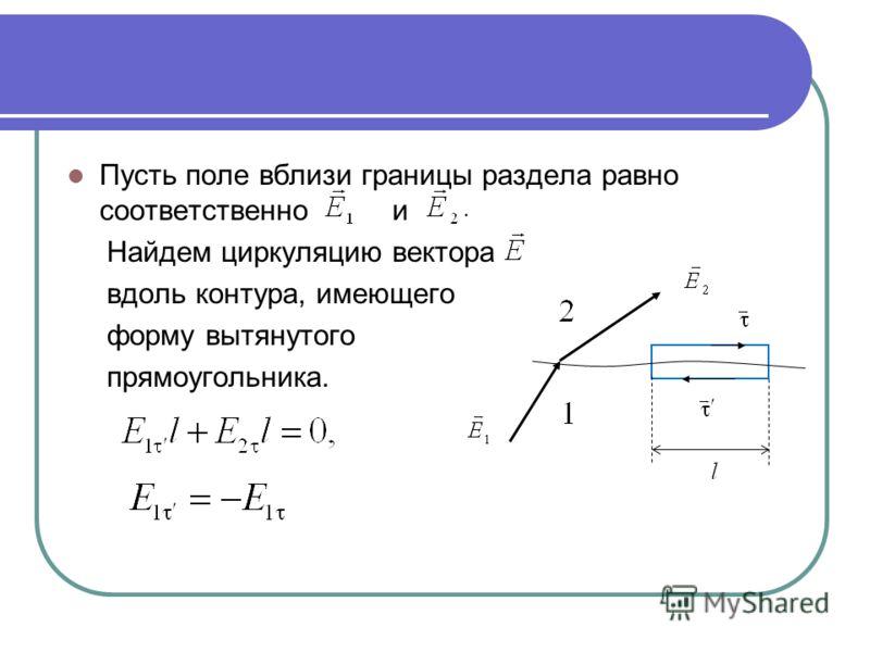 Пусть поле вблизи границы раздела равно соответственно и Найдем циркуляцию вектора вдоль контура, имеющего форму вытянутого прямоугольника.